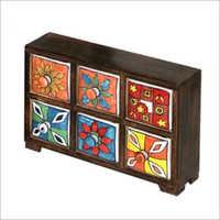 11.5x3.125x8 Inch High Ceramic Drawer Chest