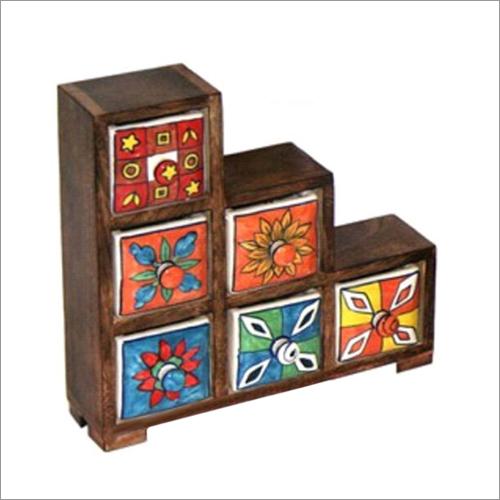 11.5x3.125x11.75 Inch High Ceramic Drawer Chest
