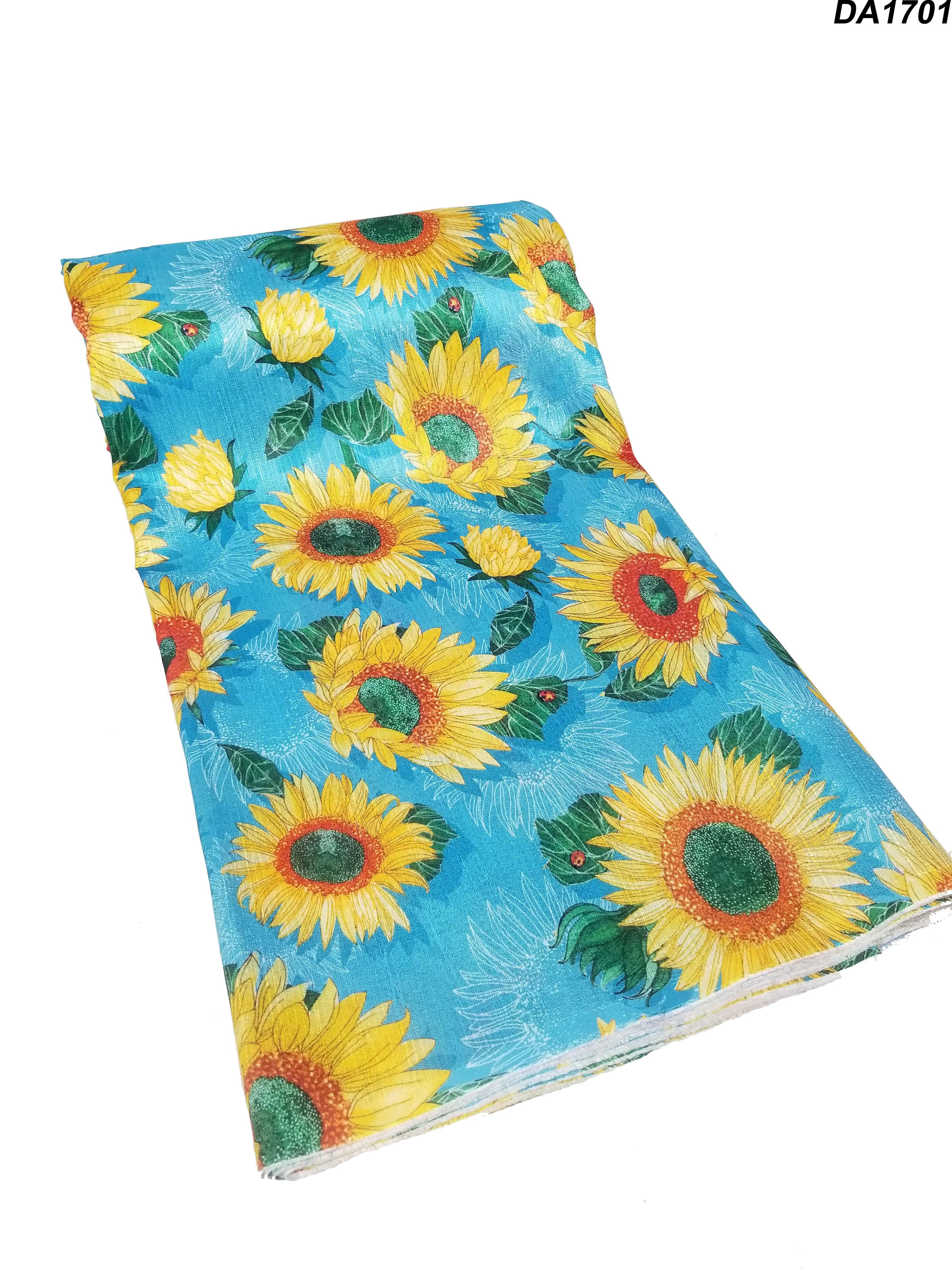 Fancy Malbari Silk Digital Sunflower Print Fabric Unstitch Material for Women's Clothing (Size-2.5 Meter Cut, 44