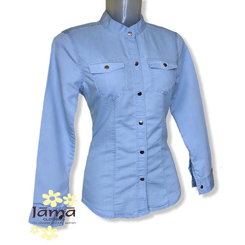 Ladies Full Sleeve Blue Cotton Shirt