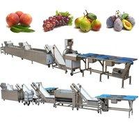 Full Automatic Peach Grape Pear Prune Washing Waxing Cutting Line