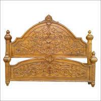 Wooden Carving Piller Bed Headerboard