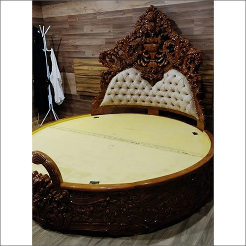 Wooden Round Shape Carving Bed