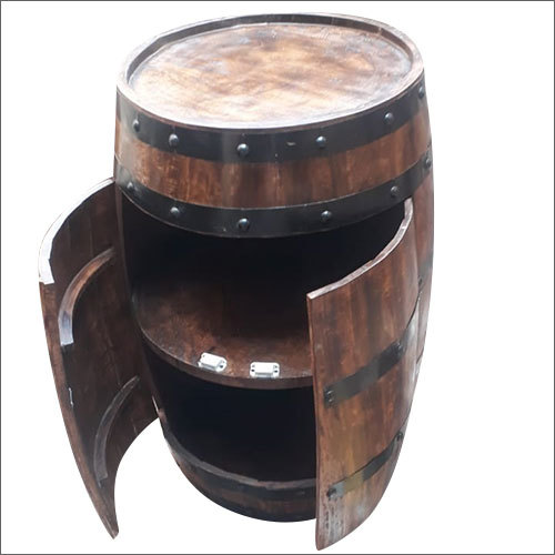 Wooden Bar Cabinet Barrel