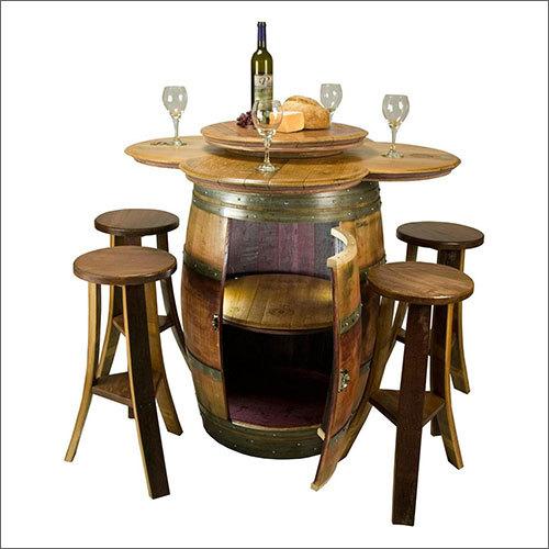 Wooden Stool Bar Barrel
