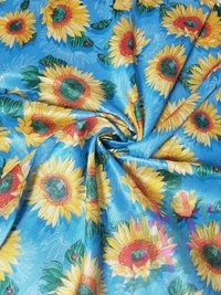 Fancy Malbari Silk Digital Sunflower Print Fabric Unstitch Material for Women's Clothing / Mulberry Silk Fabric