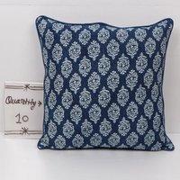 Indigo Block Printed Cotton Cushion Cover
