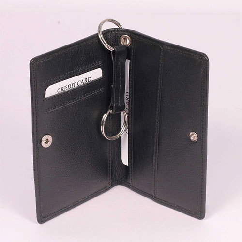 Black Card Case With Double Ring