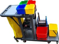 Janitorial Cart with Triple Bucket Mopping System