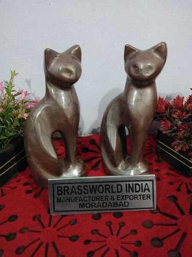 BRASS CAT TEXTURE BROWN PAIR OF STATUE CREMATION URN FUNERAL SUPPLIES