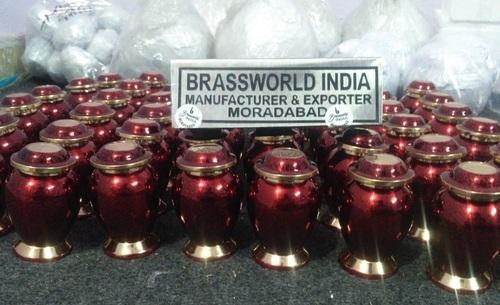 BRASS RED KEEPSAKE URN BY BRASSWORLD INDIA