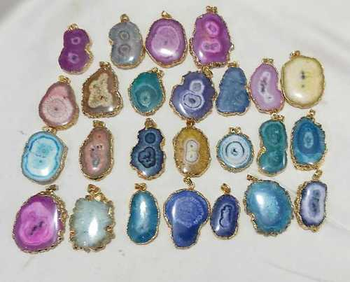 Agate Slice Electroplated Pendant