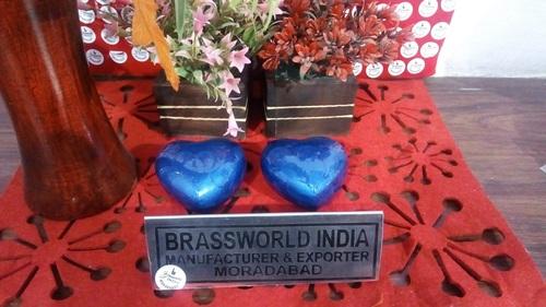 BRASS BLUE HEART TEXTURE CREMATION KEEPSAKE URN
