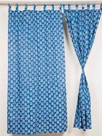 Indigo Buti  Blue Block Print Curtain
