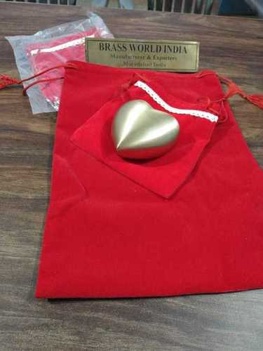 BRASS HEART WITH SITTING CAT CREMATION URN FUNERAL SUPPLIES