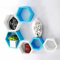 6 Set Hexagonal Shape Wooden Wall Shelves