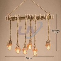 Hanging Rope Lamp with 6 Bulb