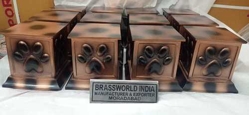 BRASS STANDRAD QUALITY PET PAW PRINTED BROWN CREMATION URN BY BRASSWORLD INDIA