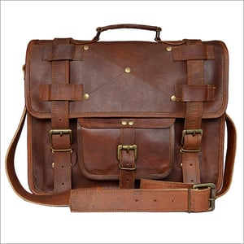 Dark Brown Leather Office Laptop Bag