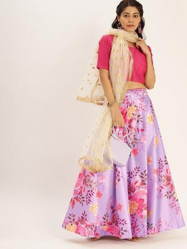 Zari Satin Silk Floral Printed Lehenga Choli