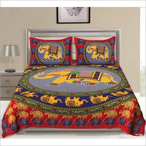 Elephant Print Cotton Bed Sheets