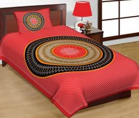 Jaipuri Printed Cotton Single Bedsheet with 1 pillow cover