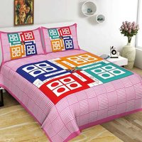 Jaipuri Printed Cotton Double Bedsheets with 2 Pillow Cover