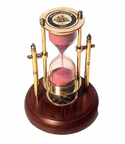 Nautical Sand Timer Antique Brass Hourglass Table Clock Compass Collectible Maritime Gift Item