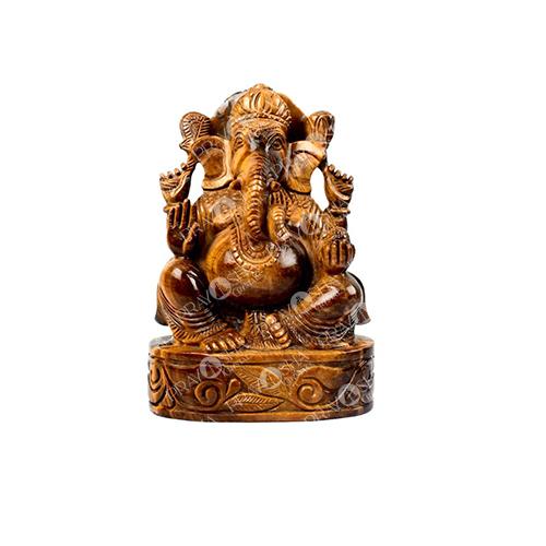 Prayosha Crystals Tiger Eye Ganesh Idol