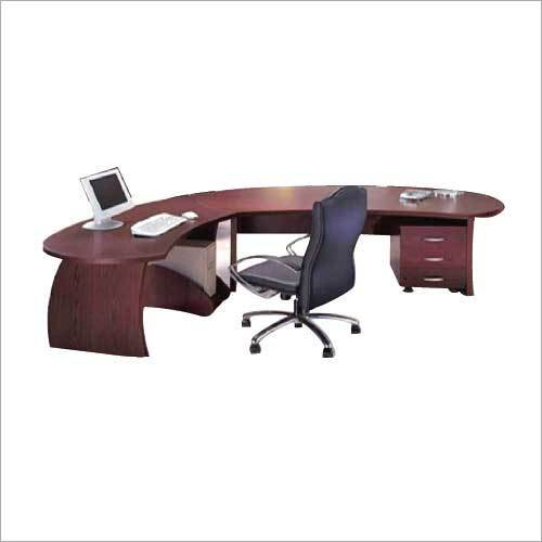 Brown Wooden L-Shaped Corporate Desk