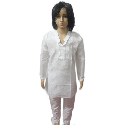 Lucknowi White Kurta Pajama Set Aariwork