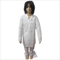 Lucknowi White Kurta Pajama Set Net Work