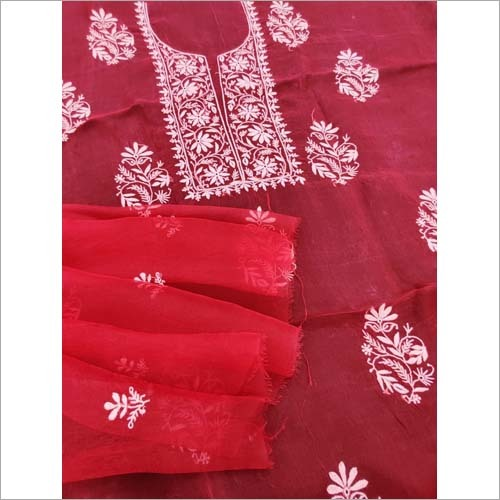 Lucknowi Chikankari Unstiched Orgenza Suit With Dupatta