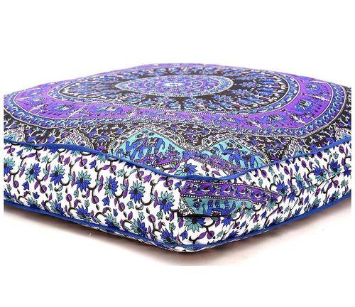 Elephant Printed Square Mandala Cushion Cover