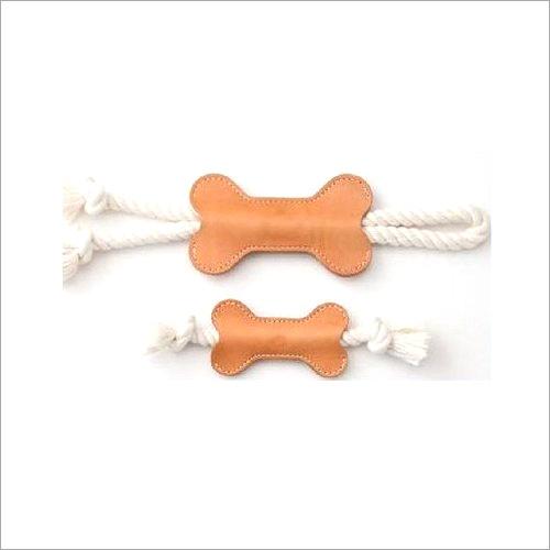 Natural Leather Bone Tug Toy