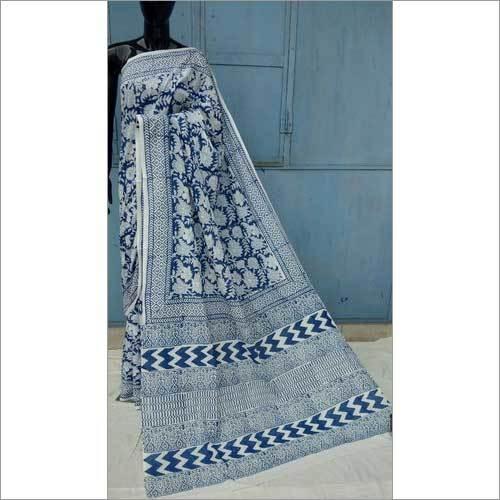 Ladies Blue and White Hand Block Printed Cotton Saree