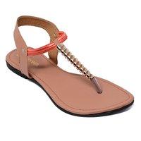 Women Gold Flats Sandal