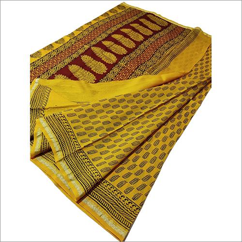 Ladies Chanderi Silk Handblock Bagh Print Saree