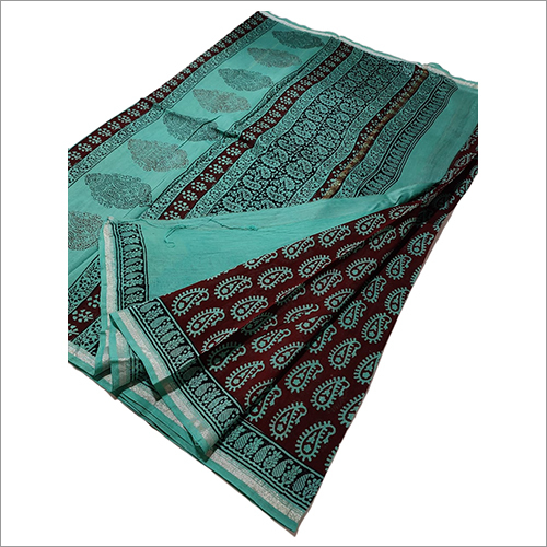 Ladies Pure Chanderi Silk Handblock Bagh Print Saree