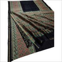 Ladies Chanderi Silk Ajrakh Printed Saree