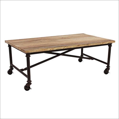Wood Top Metal Table With Wheels