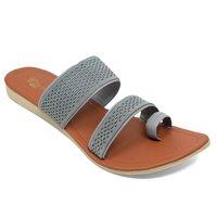 Women Grey Flats Slipper