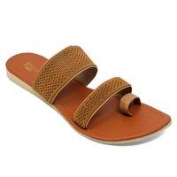 Women Brown Flats Slipper