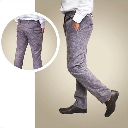 Mens Grey Cotton Pant