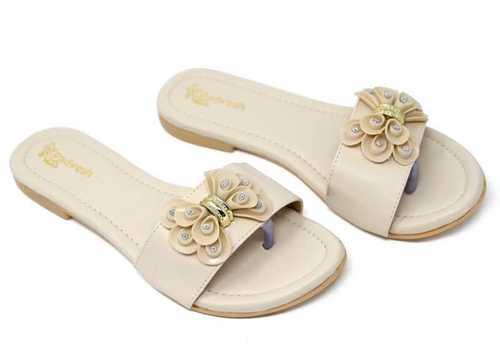 Ladies Beige Flats Sandal