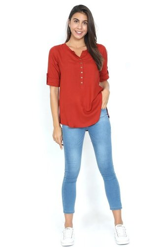 Red Rayon Top