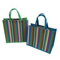 PP Laminated Striped Print Jute Tote Bag