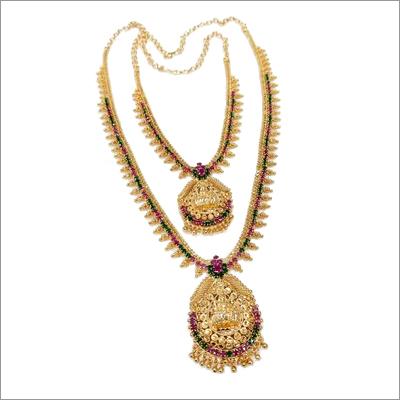 Ladies AD Stone Temple Necklace Set