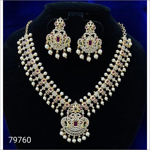 Cz 79760 Artificial Silver Necklace Set