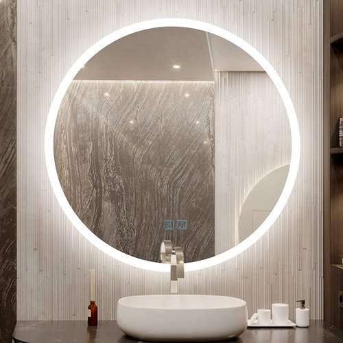 Round Shape 3 Color LED Bathroom Copper Free Mirror With Defogger